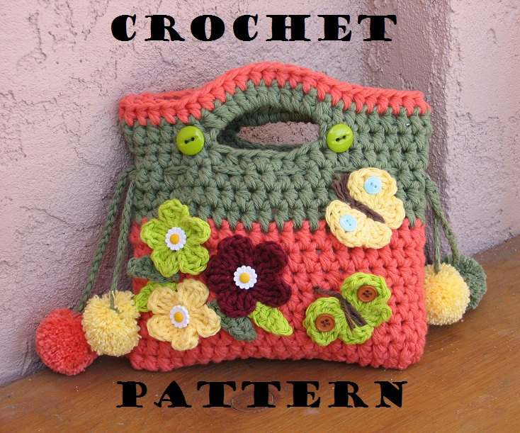 Crochet Flower Bag Free Patterns : Girls Bag / Purse with Flowers Butterfly and Pom Pom, Crochet Pattern ...
