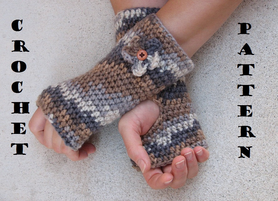 Crochet Fingerless Gloves Pattern Beginner : Fingerless Gloves With Flower , Crochet Pattern PDF,Easy ...