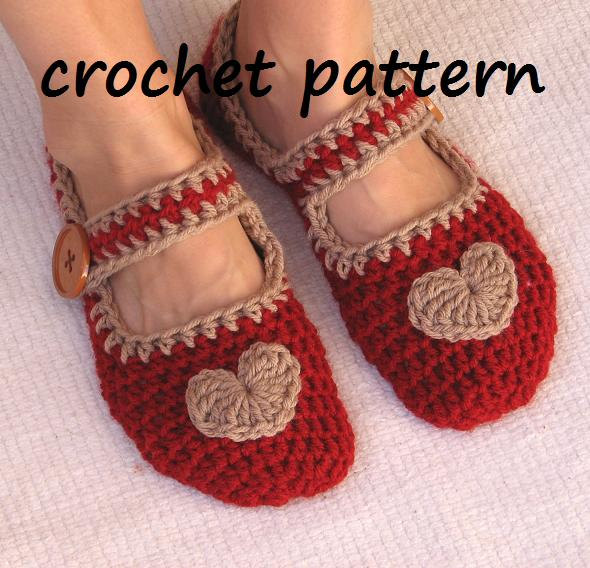 Beginner Crochet Patterns Slippers : Mary Jane Slippers Crochet Pattern PDF,Easy, Great For ...