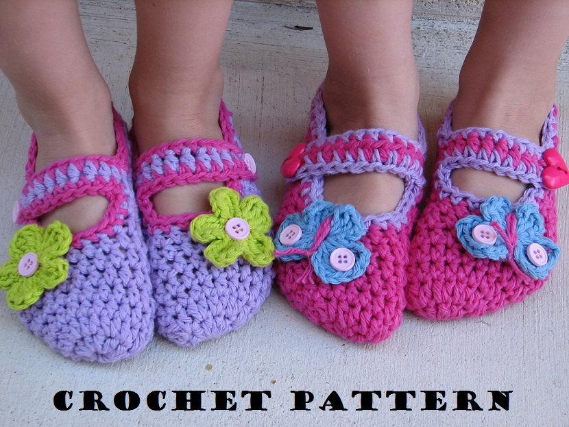 Childrens Slippers, Mary Jane Slippers, Crochet Pattern ...