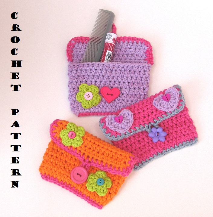 Beginners Crochet Bag Patterns : Girls Purse/ Wallet With Flower And Heart, Crochet Pattern ...