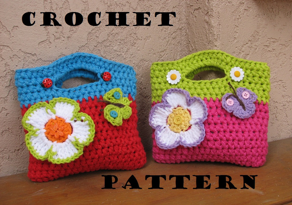 Crochet Designs For Bags : Girls Bag / Purse With Large Flower And Butterfly, Crochet Pattern PDF ...